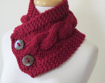 "Knit Neck Warmer, Cable Knit Scarf,  Chunky Warm Winter Scarf in Cranberry 6"" x 25"" Coconut Shell Buttons Ready to Ship - Gift for Her"
