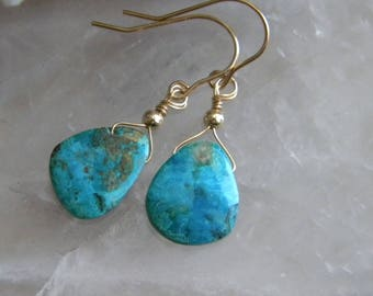 Chrysocolla Earrings, Blue Chrysocolla Briolettes, Semi Precious Gemstone Earrings, Gold Filled earwires, KarenWolfeCreations