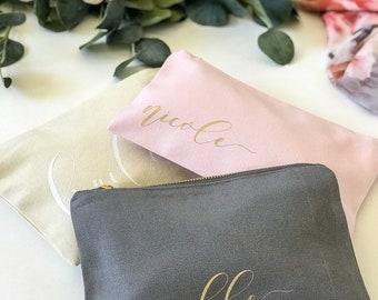 Personalized Makeup Bag, Canvas, Script, Calligraphy, Bridesmaids, Gifts, Wedding, Bride, GirlFriends, Bridal Shower, Bachelorette,