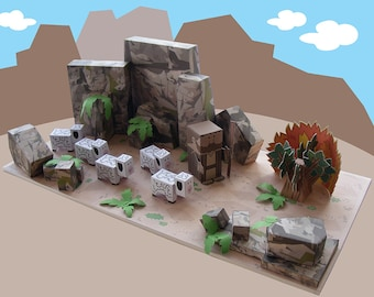 Bible MiniWorld Paper Toys - The Burning Bush - Cut, assemble and play. Instant download