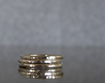 Thin hammered rings, Set of 3 thin silver stacking rings, stacking ring set made to order