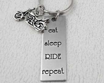 Motorcycle - Eat Sleep Ride Repeat Key Chain - Engraved Fathers Day Gift - Spouse Partner Dad Grandpa