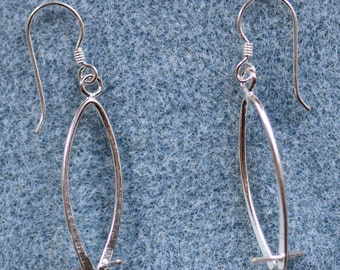 Sterling Silver Ear Wires with Long Bail - Per Pair (Free UK Postage)