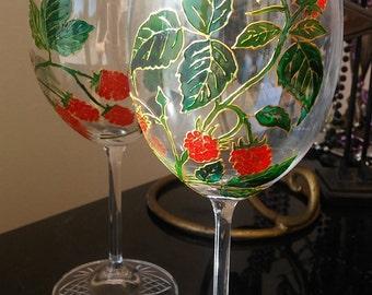 wine glasses hand painted set of two Raspberry wine Birthday girlfriend mom gift Custom wine glass Glass painting wedding anniversary gift