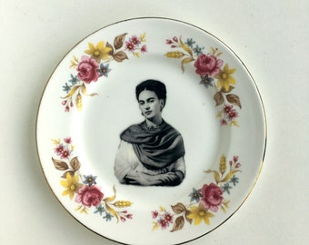 Vintage Plate Frida Kahlo Altered Art mexico artist