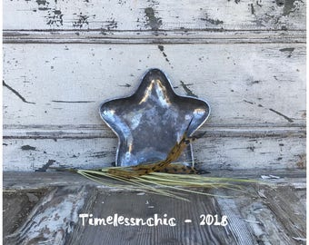 Small Metal STAR Tray Silver Tray Decorative Star Shaped Tray - Patriotic Decor - Star Decor Silver Tray - Table Centerpiece - Candleholder