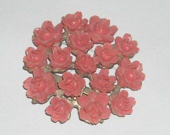 Vintage  Pin  Pink Roses 1950s