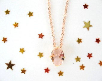 Delicate necklace. Peach glass necklace. Rose gold necklace. Faceted glass pendant. Copper necklace, wedding jewelry, gift for her