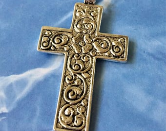 Cross Pendant Silver Floral Ornate Antiqued Pewter, Jewelry Supply