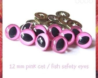 15 mm PINK Cat / Fish Eyes for Amigurumi eyes Plastic eyes - 5 PAIRS (15PC)