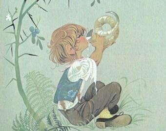 Vintage Illustration Little Boy Nursery Book Page Childrens Room Decor Boys Artwork Illustration