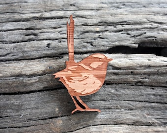 Wooden Wren Brooch - Designed and Made in Australia