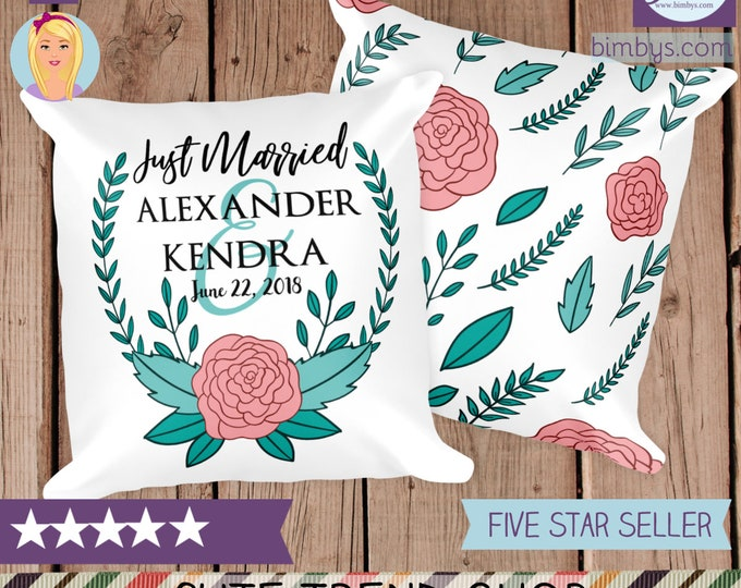 Custom Name Just Married Throw Pillow - Floral Throw Pillow with Personalized Names - Custom Wedding Pillows - Bride and Groom Pillows