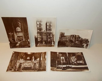 5 Vintage 1950s Valentine's RPPC Postcards-Westminster Abbey-London England-FREE SHIPPPING!