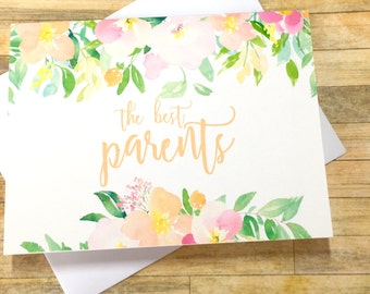 Pregnancy Announcement Card - Pregnancy Reveal to Parents - The best Parents get Promoted to Grandparents - Grandma Grandpa - SPRING BLOSSOM