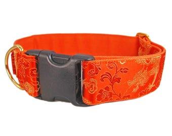 Orange Dog Collar, Silk Brocade Dog Collar, Custom Dog Collars, Wide Dog Collar, Large Dog Collar, Dragon Dog Collar, 2 Inch Dog Collar