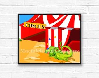 Iguana, Circus, Juggling, Children's Book Art, Wall Art, Nursery Room Art, instant download, digital print, digital art, 8x10