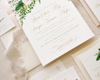Tropical Wedding Invitation Suite Beach Wedding, Blush Green Gold, SAMPLE KIT