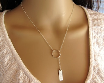 Black Friday Sale!! Hammered Silver Bar Drop Sterling Silver Lariat, adjustable, customized, gift for her, bridesmaid
