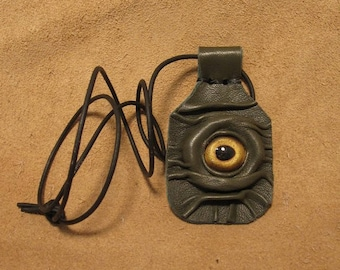 Grichels leather amulet pendant necklace - olive green with gold fish eye
