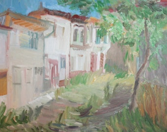 Landscape house oil painting signed