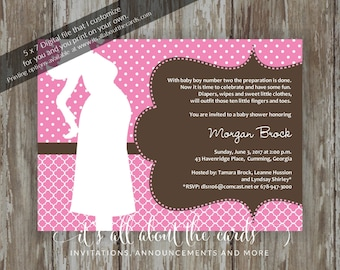 """Baby Shower invitations - Digital file """"Pink Mommy Silhouette"""" design"""