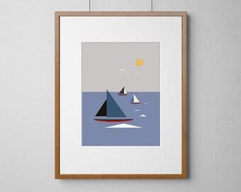 Boats Sailing The Sea | Digital Download  Print | PDF | JPG | Standard Sizes | Print Ready Artwork | CMYK Colour