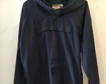 Retro style Navy Blue women's rain coat