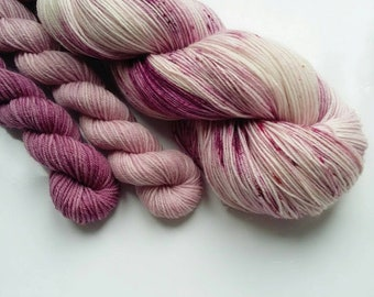Hand dyed yarn sock set with mini skeins 4 ply  Merino wool/ nylon Hand dyed Yarn UK - Clematis Montana Sock /4 Ply