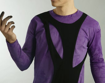 Mens long sleeved tree of life shirt in purple and black organic cotton