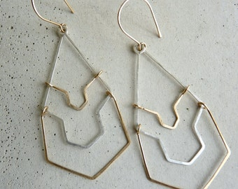 KARST EARRINGS - Long Silver and Gold Geometric Earrings