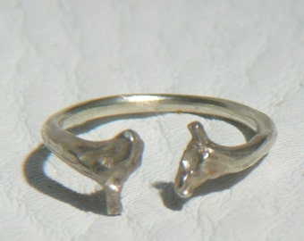 Open Adjustable Snake Bones Ring in Sterling Silver Nature cast from Snake Ribs Taxidermy Jewelry Open Horseshoe band