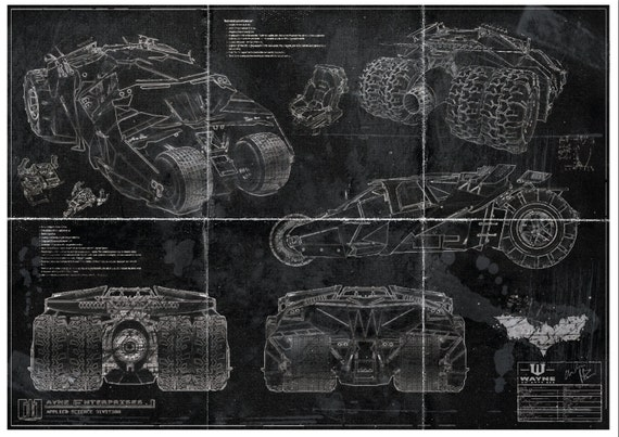 Batman batmobile tumbler blueprint art print a2 420mm594 malvernweather