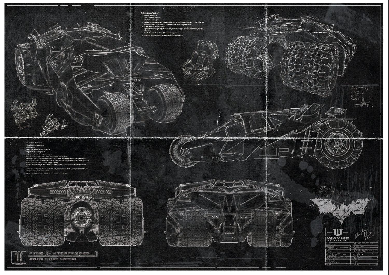 Batman batmobile tumbler blueprint art print a2 420mm594 zoom malvernweather Image collections