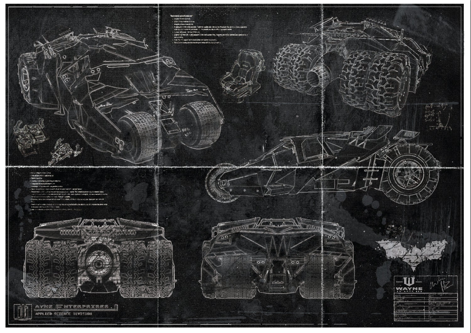 Batman batmobile tumbler blueprint art print a2 420mm594 zoom malvernweather Images