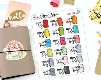 Clean Refigerator Stickers - Typography Planner Stickers - Clean Fridge Stickers - Cleaning Stickers - Doodle Icon Planner Stickers - 1020