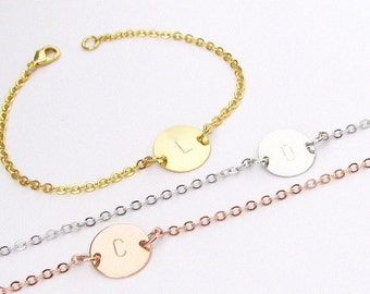 Personalized Initial Bracelet – Add Up to 3 Initial Charms – In Gold, Silver or Rose Gold Plated