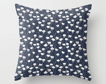 Navy Pillow Cover Cotton Fields Pillow Throw Pillow Decorative Pillow Size Choice