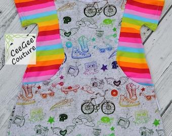 Trendy Tunic pocket dress rainbow hipster