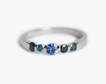 Unique Sapphire Wedding Ring, Ombre Wedding Ring, Blue Green Sapphire Band, Green Sapphire Ring, Blue Sapphire Ring, Sapphire Wedding Band