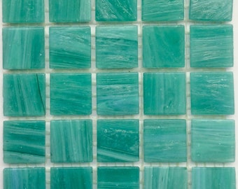 "20mm (3/4"" Teal Mint Green Marbled BEVELED Glass Mosaic Tiles//Mosaic Supplies//Crafts//Mosaic"