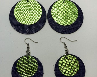 Leather earrings, Leather, Earrings, Mom and me earrings, Mother and daughter earrings, circular earrings, Navy and lime green earrings