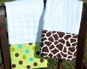 Gender Neutral Burp Cloth Set, Gender Neutral Baby Shower Gift, Giraffe Burp Cloth, Polka Dot Burp Cloth