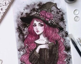 Peony witch Art print