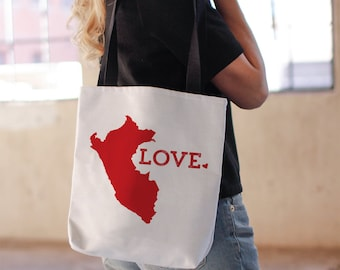 Peru Tote Bag, college student gift, Travel South America, Bright Red