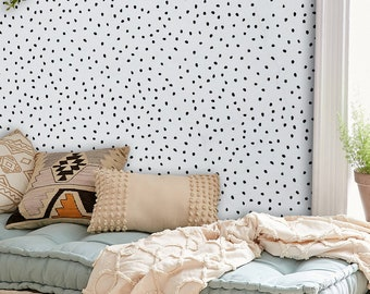 Drawn Dot removable wallpaper, Simple wall mural, Geometric wall decor, peel and stick, Reusable, Removable, Repositionable wallpaper MAF164