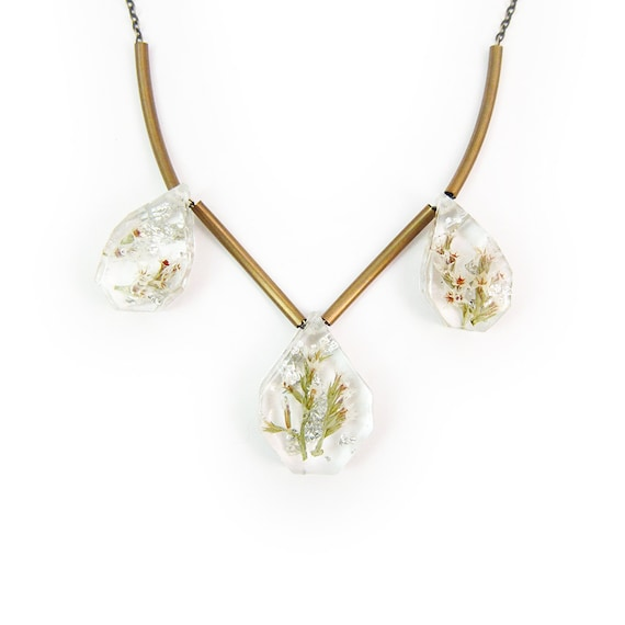 Tiny Flower and Silver Leaf Trio Necklace