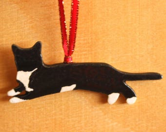 Ceramic TUXEDO Cat Ornament - Handmade Stoneware B&W Cat Ornament - Christmas Holiday Decoration - Ready To Ship