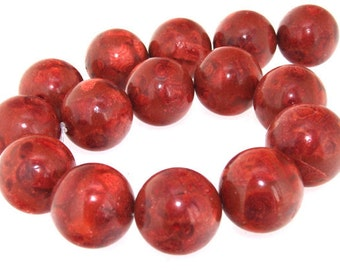 "Rare Big Strand  Red Sponge Coral Gemstone Beads 20mm Full Strand 16"""