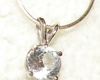 1.35ct- 14kt White Gold White Sapphire Pendant